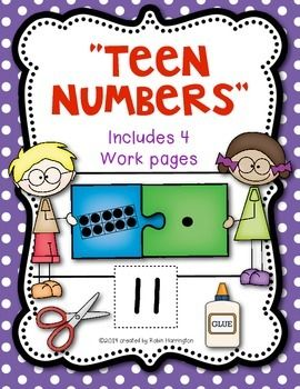 "Teen Numbers Workpages ""Puzzle Kids"" for Kindergarten and FIrst Grade. Includes 4 different page.   $"