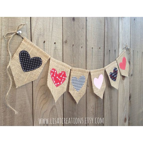 Hearts Burlap and Fabric Banner // Valentine's by LisaTCreations