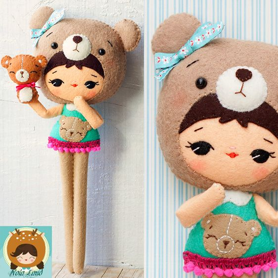 Bear Girl Felt Doll Pattern