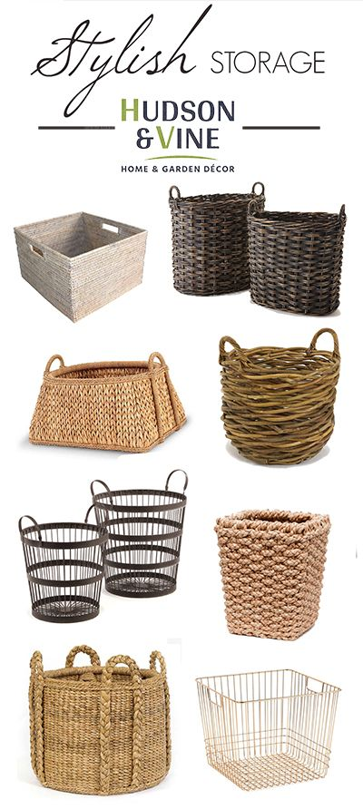 Baskets of all styles at Hudson and Vine. Beautiful storage ideas for blankets, kids toys, office materials, shoes, office supplies, produce and more. Ideas for Farmhouse, Vintage, Modern, Bohemian, French Country and Rustic interior decorating tastes. Shop Hudson and Vine today. Fast free shipping on orders over $100.