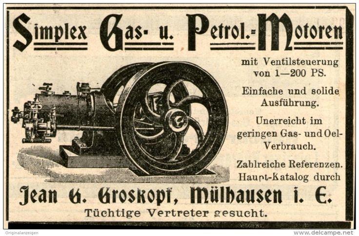 Original-Werbung/ Anzeige 1901 - SIMPLEX GAS- UND PETROL- MOTOREN / JEAN G. GROSKOPF MÜLHAUSEN - ca. 90 x 60 mm