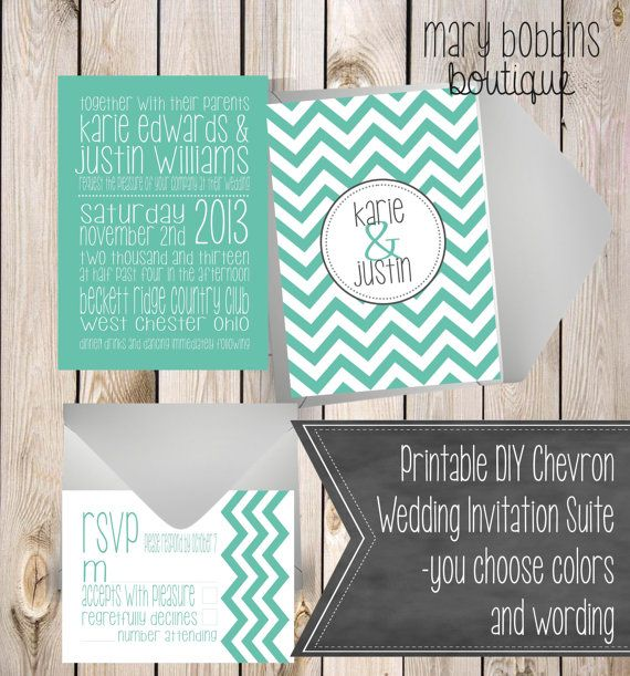 Printable DIY Chevron Wedding Invitation by MaryBobbinsBoutique, $15.00