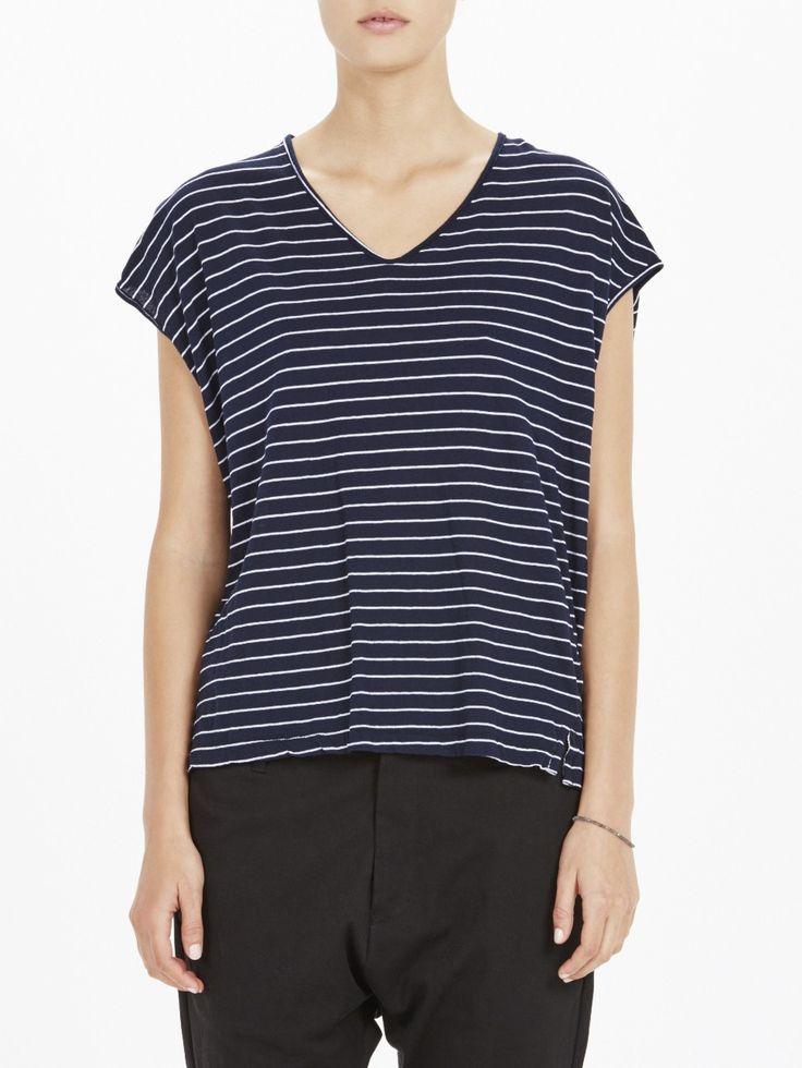 stripe high v boxy t.shirt III / new navy/white