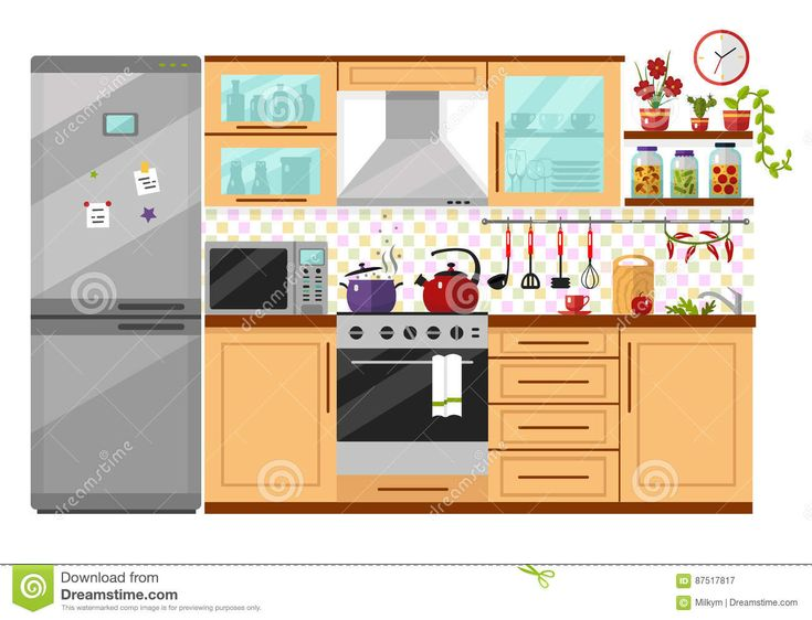 Kitchen interior stock vector. Image of drawing, flat - 87517817