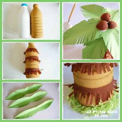 DIY déco d'anniversaire thème hawaïen : faire un cocotier avec une bouteille de lait - Les p'tites décos de Lolo
