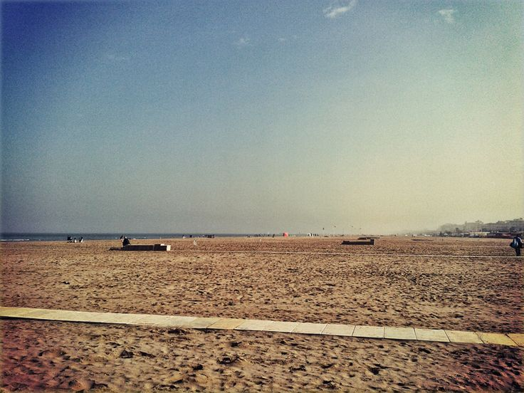 The Rimini beach on a sunny October afternoon.