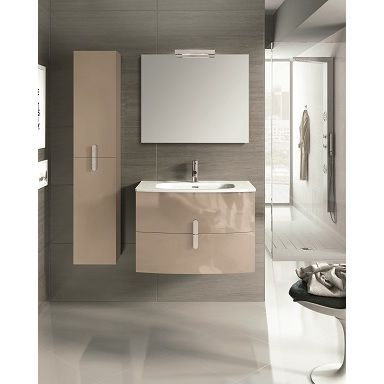 Eviva Round 31-inch Wall Mount Modern Bathroom Vanity with White Integrated Porcelain Sink