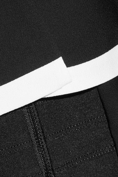 Alice Olivia - Aubrey Cropped Layered Crepe Top - Black - medium