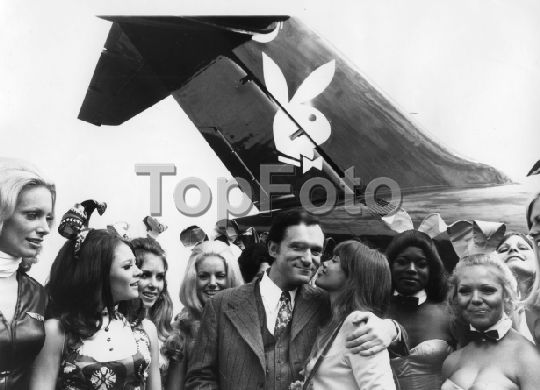 Hugh Hefner and his girlfriend Barbi Benton arrive at Heathrow, London, 1970. They arrived in a DC9-30 jet, called 'The Big Bunny'.