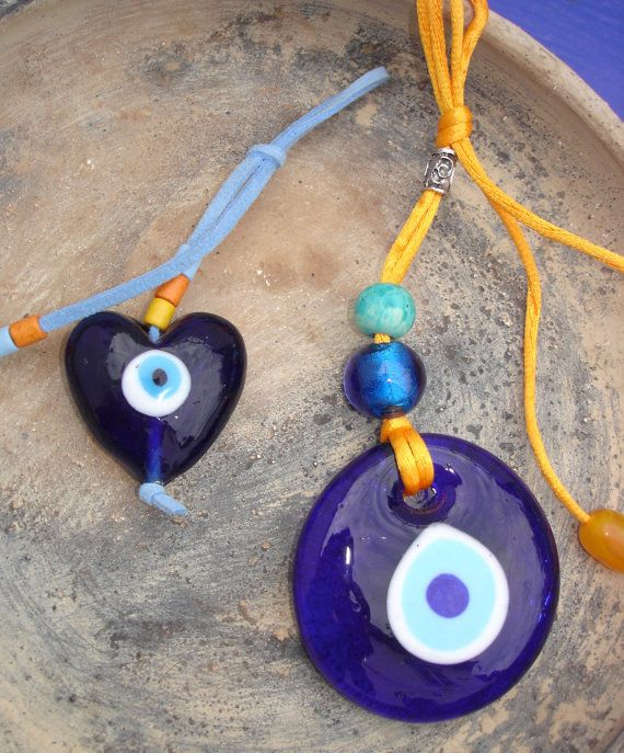 Talisman Greek Turkish Blue glass Evil Eye charm by CarolinaHydra