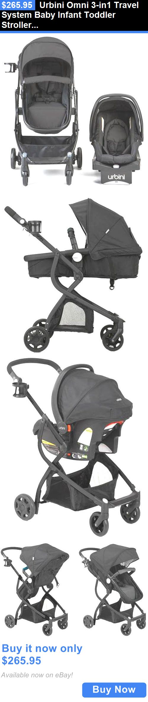 baby and kid stuff: Urbini Omni 3-In1 Travel System Baby Infant Toddler Stroller Car Seat Pram Black BUY IT NOW ONLY: $265.95
