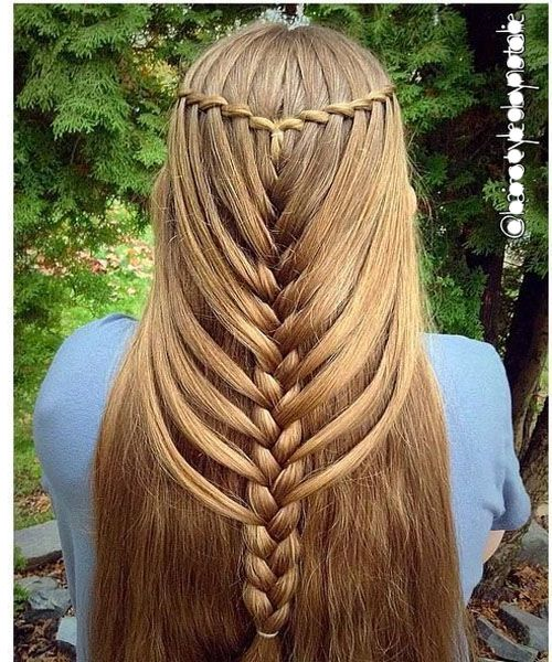 Waterfall mermaid braid hairstyle