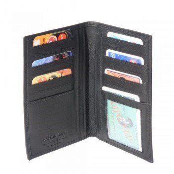 Dubbelgevouwen Leder portemonnee van zacht kalfsleer zwart kleur