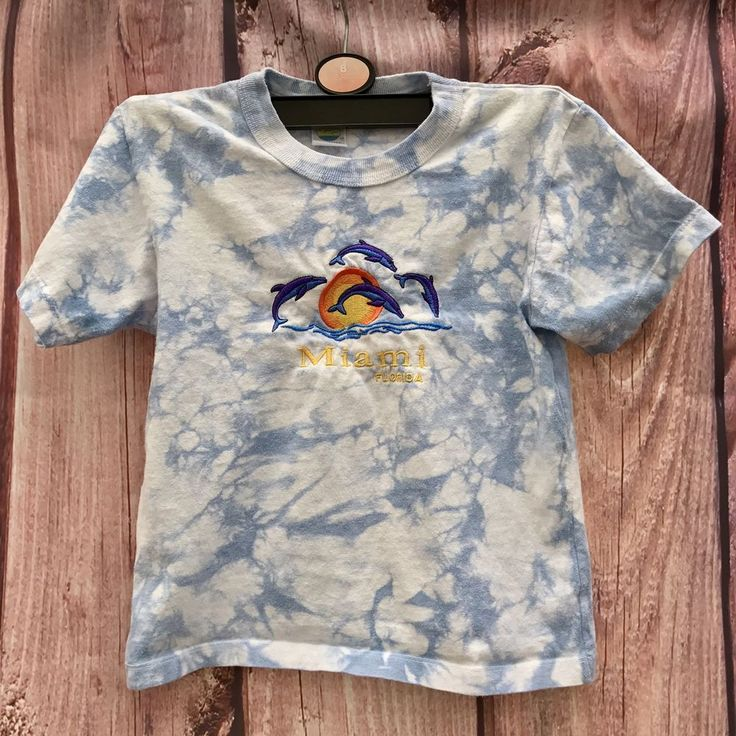 CARIBBEAN TROPIC MIAMI FLORIDA KIDS TOP SIZE 8 SUN WITH DOLPHINS SUMMER HOLIDAYS