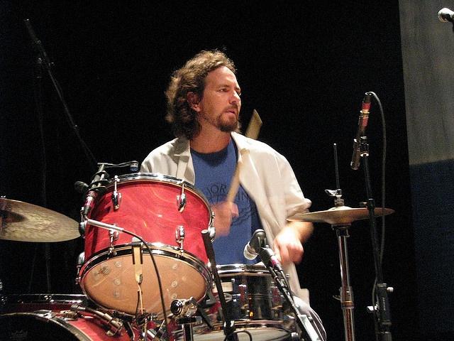 Eddie Vedder playing drums
