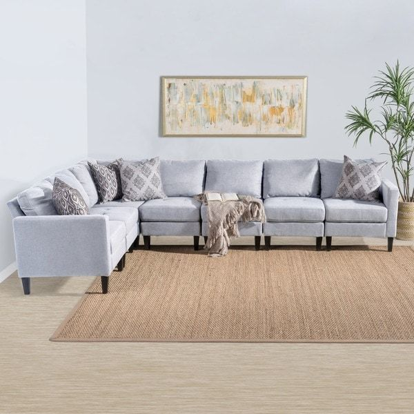 Zahra 7 Piece Fabric Sectional Sofa Set By Christopher Knight Home Fabric Sectional Sofas Fabric Sectional Couch Small Sectional Sofa