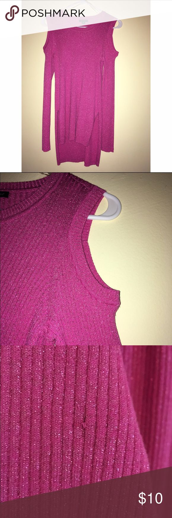 Charlotte Ronson sparkly cold shoulder  sweater This sweater has never been worn , one small snag in front as shown in photos above I purchased it in that condition. I have removed the tags because I did plan on wearing it but where I live it never gets cold! It is ribbed with cold shoulders. The designer is i heart Ronson which is a collection charlotte Ronson designed for J.C. Penney. Charlotte Ronson Sweaters