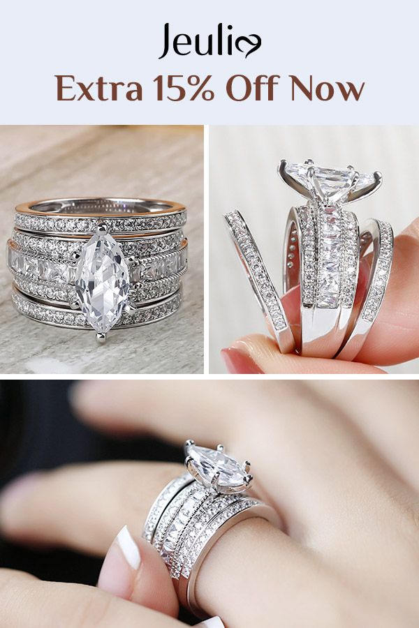 4df47d1d0 3PC Marquise Cut Sterling Silver Ring Set in 2019 | Stunning Wedding Rings  | Engagement rings, Silver rings, Jewelry rings