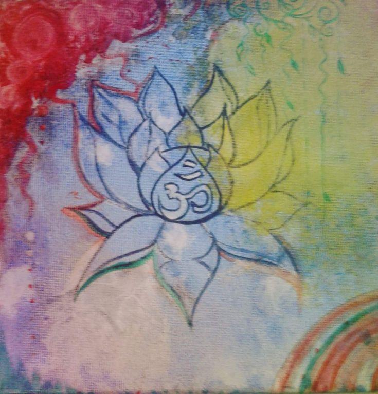 Lotus flower ~ ohm ~ namaste~ acrylic on canvas. Abstract art.