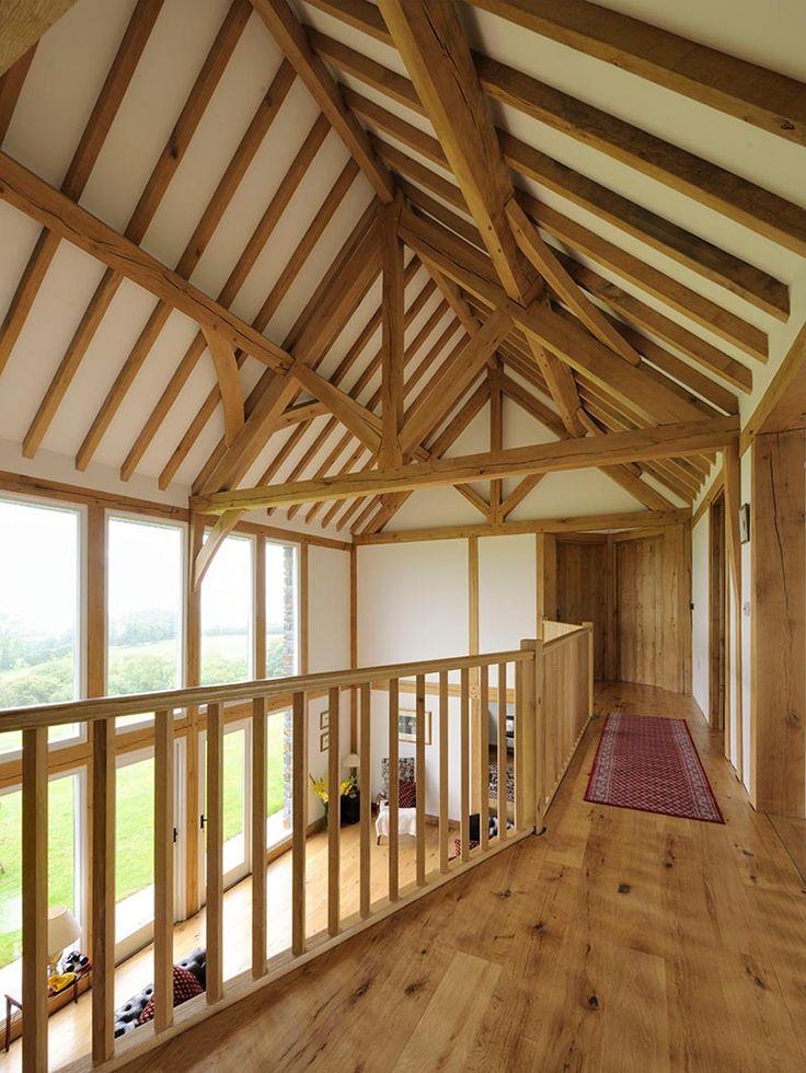 Gallery style landing from Welsh Oak Frame  #oakframe #landingideas #vaultedceilings #oak #goals #beams #purlins #wooden #wood