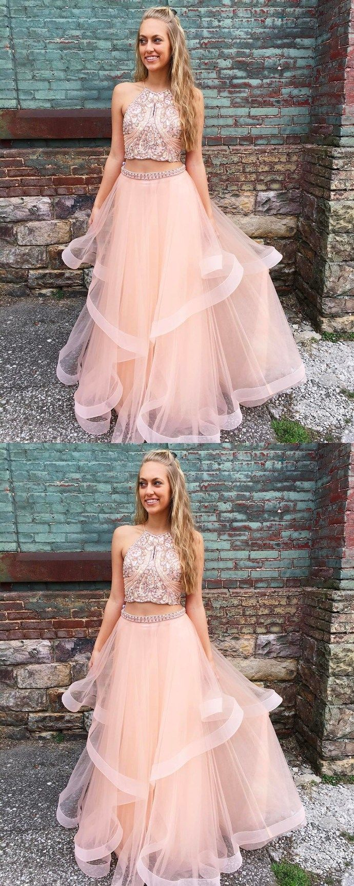 667c4f9fc8f Gorgeous Two Piece Pink Long Prom Dress, two piece white long ball ...