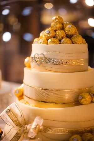 Treat boutique: One of our wedding cakes; Ferrero Rocher and White Chocolate icing.