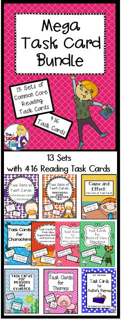 416 Common Core Reading Task Cards! Awesome focused practice for your students covering a wide spectrum of standards! (TpT Resource)