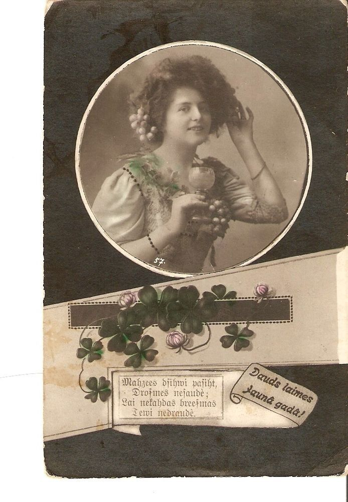 Carte postale teintée photo Bon anniversaire femme trèfle gobelet la coupe