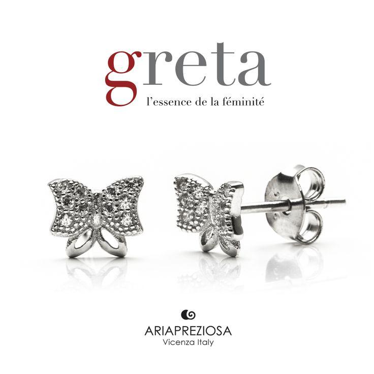 Greta - Coppia di orecchini in Argento 925‰. Chiusura a farfalla