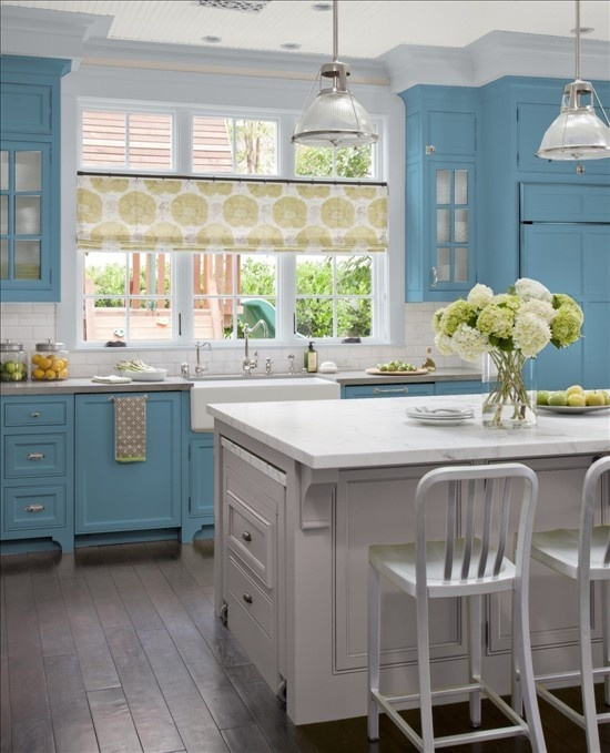 Gray and Blue Kitchen... Love the blue cabinets,
