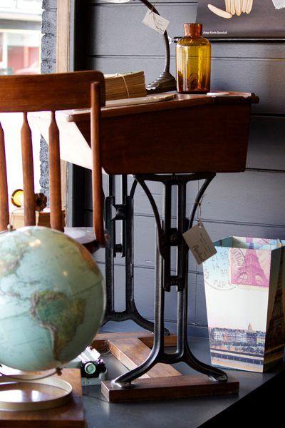 vintage globe in window display