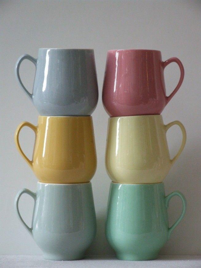 Vintage 50's Regout Maastricht California pastel bolle buik bekers set van 6 - Interieur - Alle vintage