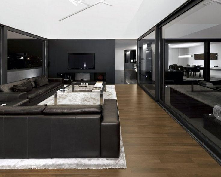 salon noir et blanc avec canaps en cuir noir tapis blanc et sol en parquet - Salon Avec Canape Noir