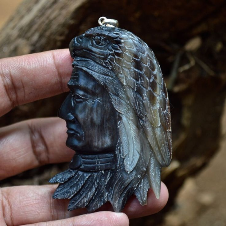 """Hand Carved Indian Eagle 3.2"""" Buffalo Horn Carving Pendant 925 Silver BH3369 #Handmade #Pendant"""