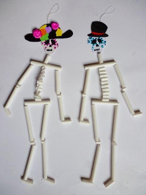 diy calaveritas de popotes / diy straws skulls