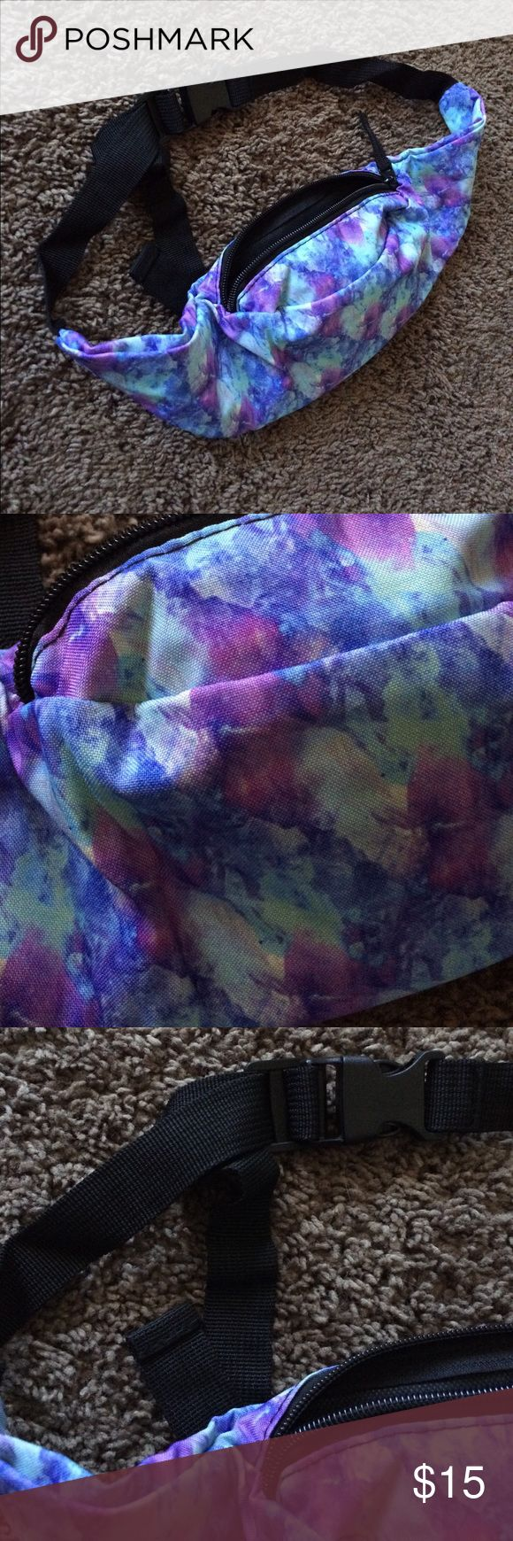 Watercolor festival / rave fanny pack! 🆕💙💜 Brand new/ never used fanny pack! Has a blue and purple watercolor flowery pattern (shown in pics), holds a good amount of stuff for the compact size :-) offers welcome! ✅ check out all my items (including this one!) on vinted & mercari for less! 😇 festival wear Accessories