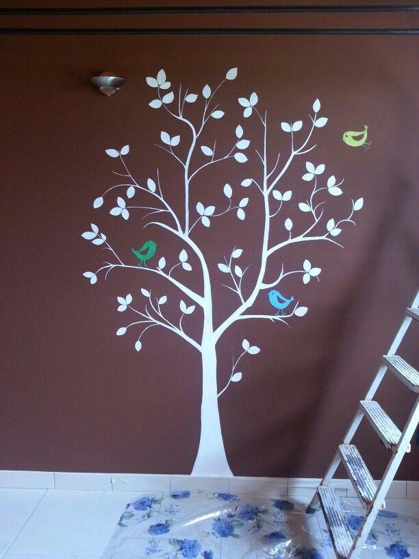 #tree #birt #white #wall #room