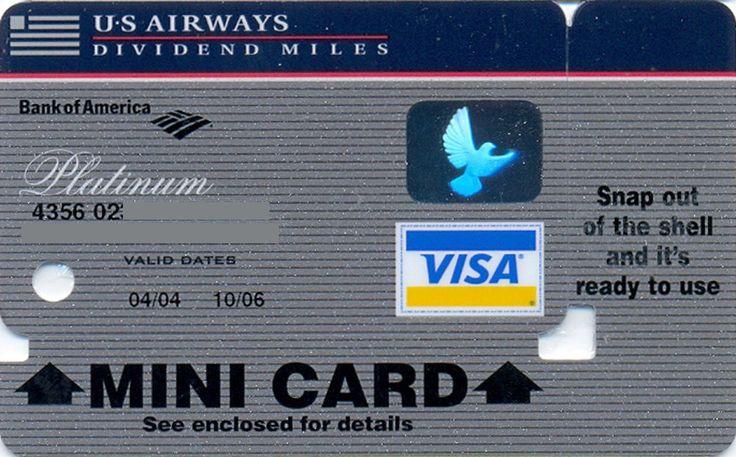 US Airways VISA mini Platinum (Bank of America, United States of America) Col:US-VI-0382