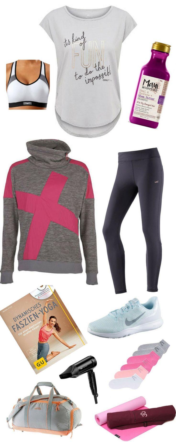 Fitness-Outfit für Frauen für Yoga und Workout im Fitness-Studio. Statement Shirt, atmungsaktive Fitness-Hose, Trainings-Schuhe, Yoga Matte, Faszien-Yoga Buch, geräumige Sporttasche mit Nassfach, Füsslinge, kuschliger Fleece-Pulli, Sport-BH für mittlere Belastungen, klappbarer Reisehaartrockner