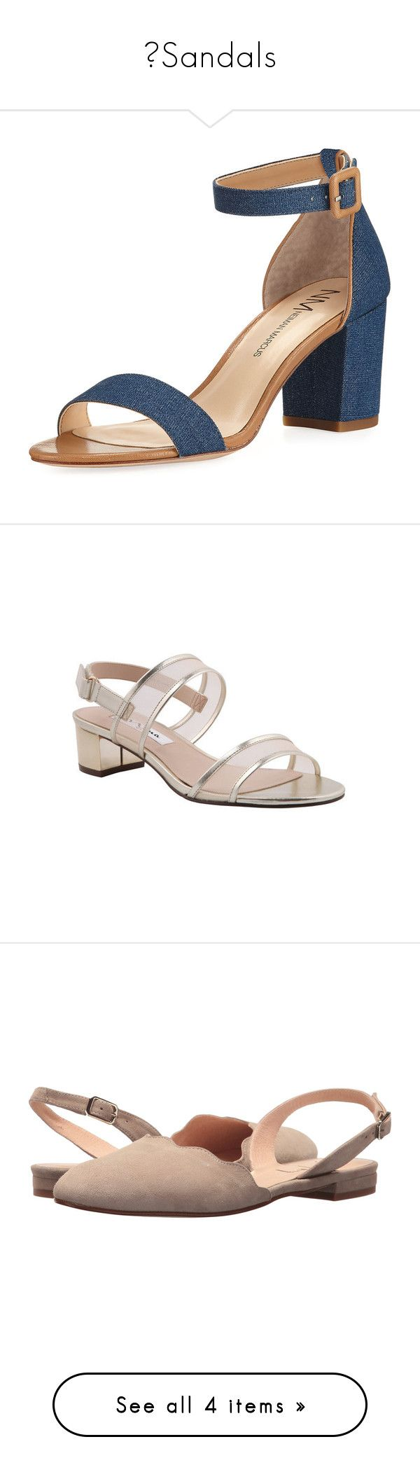 """👡Sandals"" by izzystarsparkle ❤ liked on Polyvore featuring shoes, sandals, heels, blue, block heel ankle strap sandals, blue heeled sandals, open toe sandals, denim sandals, open toe heel sandals and casual"