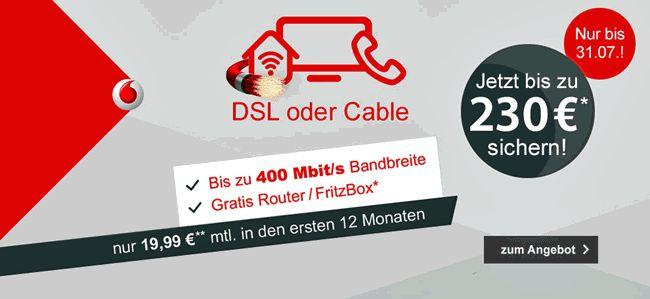 Vodafone DSL oder Kabel mit bis zu 230,00 Euro Einmaliger Auszahlung zum Vertrag mit der FRITZ!BOX 7430 oder WLAN Kabel-Router für 24 Monate Kostenfrei zum Vertrag mit dabei.
