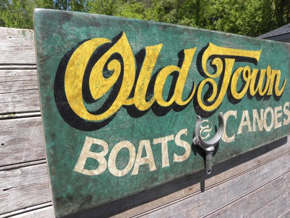 Old Town Canoe Sign hand made original wooden by ZekesAntiqueSigns, $89.00