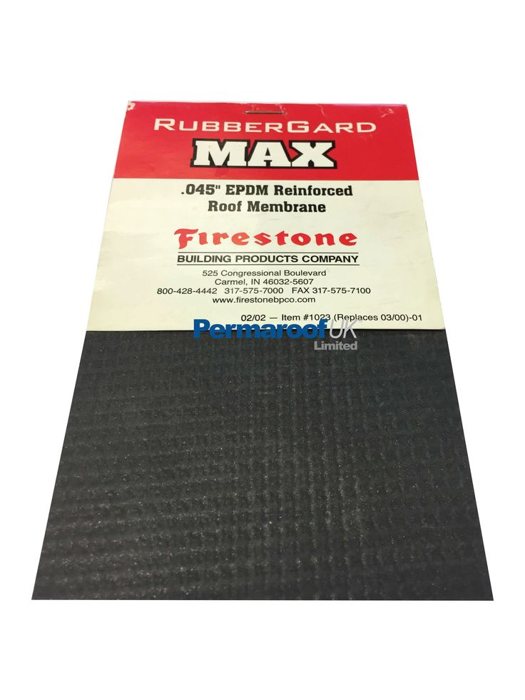Firestone EPDM Max Firestone Max reinforced EPDM membrane is a 100% cured roofing membrane made of Syntetic rubber. This is a one piece system.  to order call 01773 608808