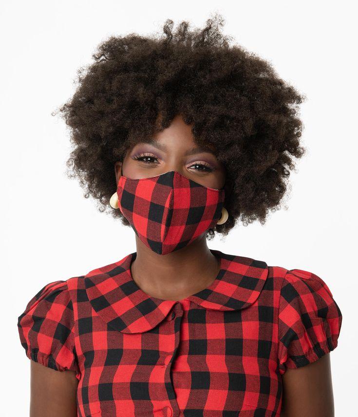 Red & White Plaid Print Face Mask – Unique Vintage