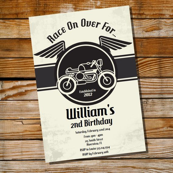 Adorable Cafe Racer Motorbike Birthday Party Invitation by SunshineParties, $5.00...so cute! x