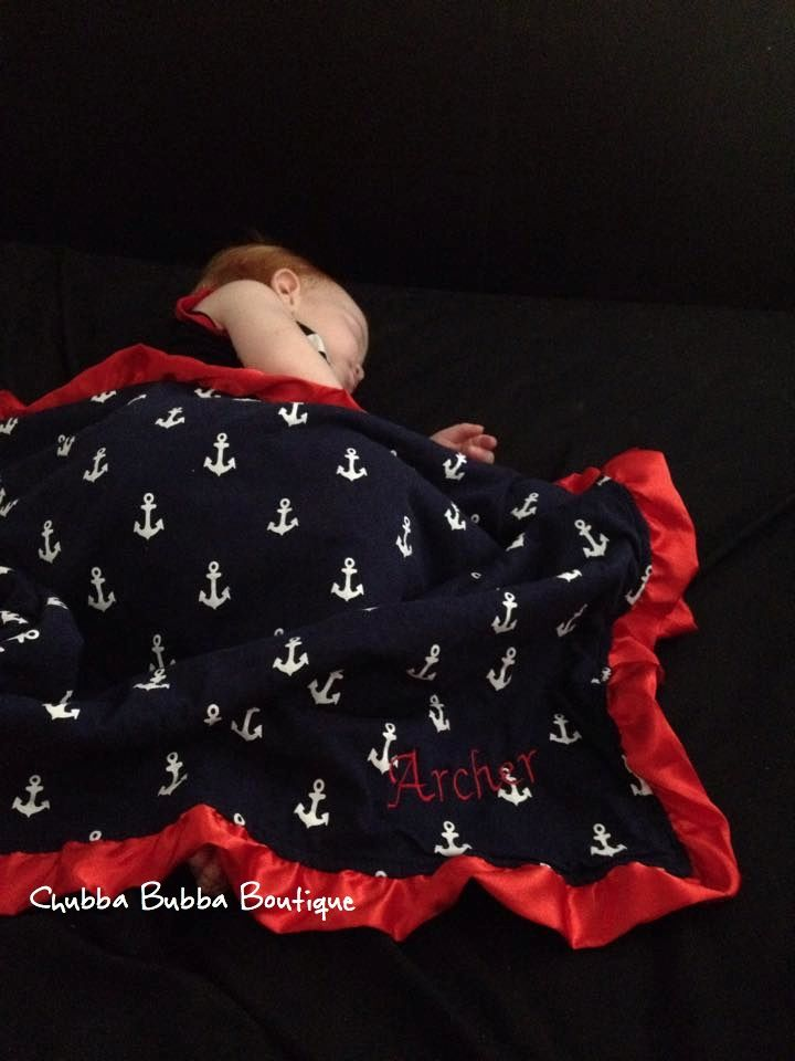 Beautiful photo of Archer having a nap in his minky Blanket - Free Embroidery on All Blankets  www.chubbabubbaboutique.com