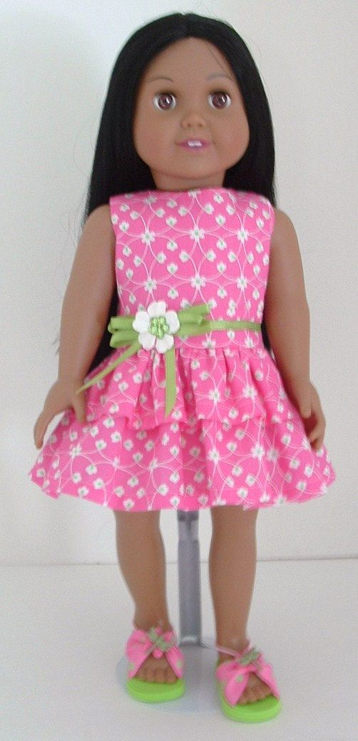 Pink and Green Party Dress by MyGirlClothingCo on Etsy, $18.00 (love the sandals)