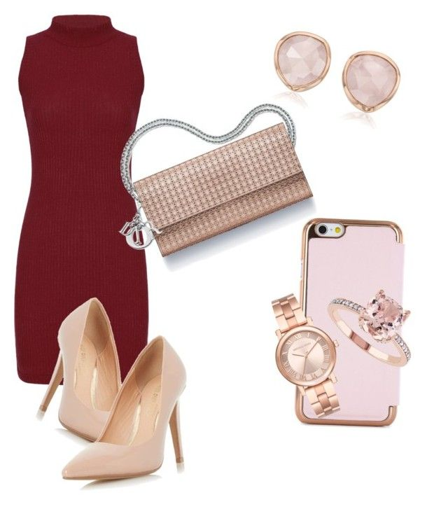 """""""Little red dress"""" by trend-setterrr on Polyvore featuring Ted Baker, Dorothy Perkins, Michael Kors and Monica Vinader"""