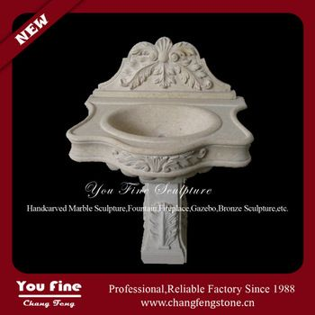 Pure hand carved beige marble stone sinks