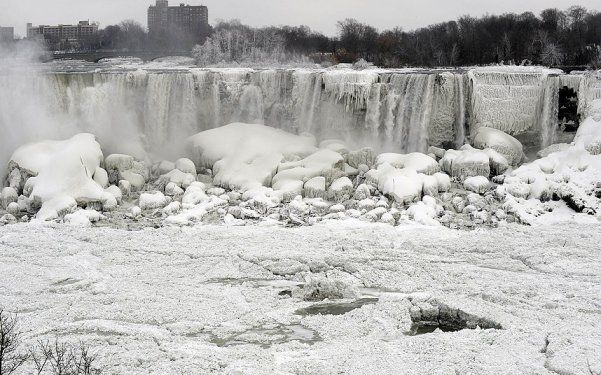The U.S side of Niagra Falls frozen for the first time in over a century, during the week of January 6th, 2014. The last time the falls reportedly froze was in the early 1900's.